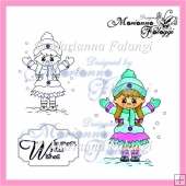 Winter girl and sentiment digital stamp!