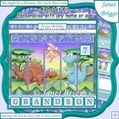 DINOSAURS 7.5 Alphabet and Age Quick Card Kit Create Any Name