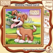 BARKING MAD DOG WOBBLY HEAD CARD 7.5 Decoupage & Insert Kit