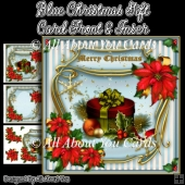 Blue Christmas Gift Card Front & Insert