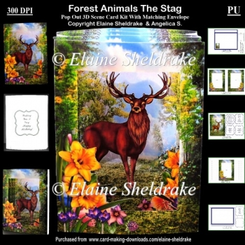 Forest Animals The Stag - 3D Pop Out Concertina Scenic Box Card
