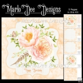 Beautiful Peach Color Watercolor Floral Mini Card Kit