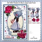 Girl With Flowers In Blue Large Card Front