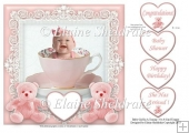 "Baby Girl In A Teacup - 7.5"" x 7.5"" Card Topper"