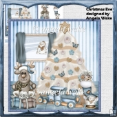 Christmas eve and Christmas tree card and decoupage