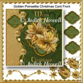 Golden Poinsettia Christmas Card Front