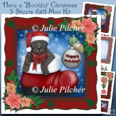 Have a Bootiful Christmas ~ Puppy Dog in Boot ~ Mini Card Kit