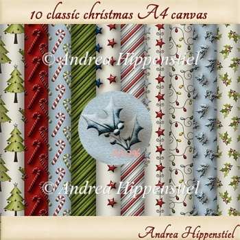 10 x A4 sheets classic christmas canvas backgroundpaper.