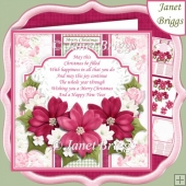 PINK POINSETTIA & VERSE 7.5 Christmas Decoupage & Insert Kit