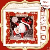 HIP HOP SANTA 7x7 Christmas Card Topper, Decoupage & Inserts Kit