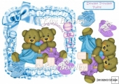 Cute twin bears in a blue frill frame with bows 8x8