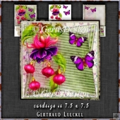 Vintage Watercolor Fuchsia and Butterflies 1304