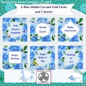 6 Dahlia Quick & Easy Cut & Fold Cards and 2 Inserts Bumper Kit