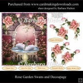 Rose Garden Swans Topper with Decoupage