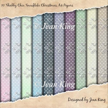 10 Shabby Chic Snowflake Christmas A4 Papers