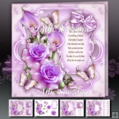 Purple Roses with Callas Card Mini Kit