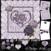 Mothers Day Lavender roses & lace card digital cutting file