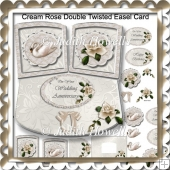 Cream Rose Double Twisted Easel Card
