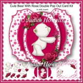 Cute Bear With Rose Double Pop Out Card Kit