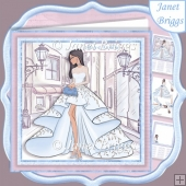 GLAMOROUS LADY BLUE DRESS 7.5 Decoupage & Insert Kit