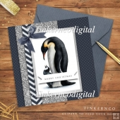 Emperor Penguin Christmas card mini kit.