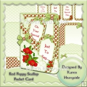 Red Poppy Scalloped Pocket Card