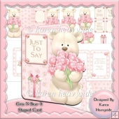 Grin N Bear It With Flowers Shaped Card