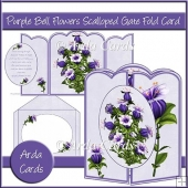 Purple Bell Flowers Scalloped Gate Fold Card