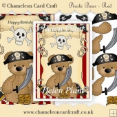 Pirate Teddy - Red Background Decoupage Card Front