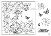 "Tabby Cat In The Rose Garden - 8"" x 8"" Digi Stamp With Decoupage"