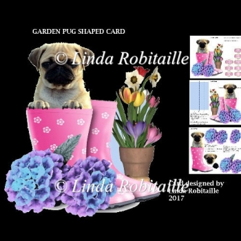 Garden Pug Shaped Card