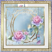 Candles and roses 7x7 card with decoupage