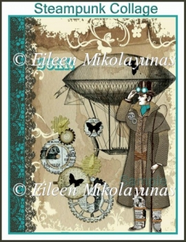 Steampunk Encouragement Collage for Cards, Journals, Crafts
