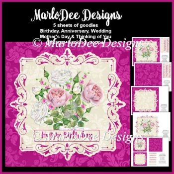 Beautiful Pink & White English Roses Mini Card Kit 1