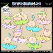 April Showers Babies ClipArt Graphic Collection
