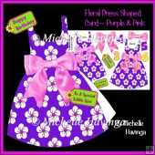 Floral Dress Shaped Card~ Purple & Pink