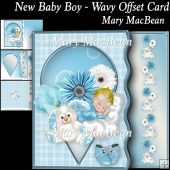 New Baby Boy - Wavy Offset Card