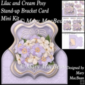 Lilac and Cream Posy - Stand-up Bracket Card Mini Kit