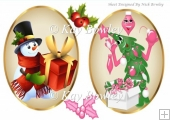 two lovely christmas toppers snowman/christmas tree