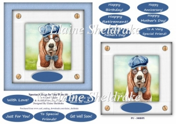 Spectacle Dogs In Blue Hats (6) - 6 x 6 Card Topper & Greetings