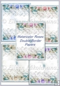 Watercolor Roses Double Bordered Backing Background Papers