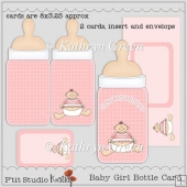 Cute Baby Girl Bottle Shape Cards