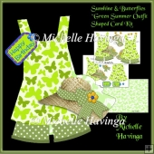 Sunshine & Butterflies Green~ Summer Outfit Shaped card Kit