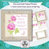 Grey and Gold Peonies 7.5 Inch Card Front, Insert & Gift Tag