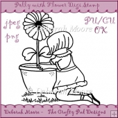 Polly with Flower Digital Stamp