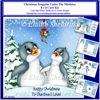 8x8 Christmas Penguins Under Mistletoe Card Kit & Ass Greetings