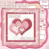 PINK & GOLD HEARTS Various Occasions 6x6 Decoupage Card Kit