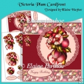 Victoria Plum Cardfront with Decoupage and Pyramage
