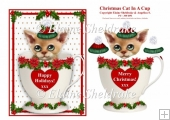 "Christmas Cat In A Cup - 5"" x 7"" Card Topper & Decoupage"