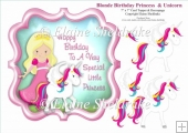 Blonde Birthday Princess With Castle -7 x 7 Topper & Decoupage